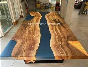 Blue Epoxy Dining Table Top, We Make Custom Wood Epoxy Sofa, Center, Table Tops