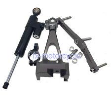 FXCNC Gray Steering Damper Bracket Kit For Yamaha MT09 2012 2013 2014 2015
