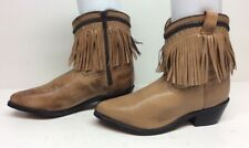WOMENS UNBRANDED FRINGE COWBOY LEATHER BROWN BOOTS SIZE 7