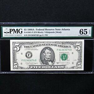 $5 1988A FRN Atlanta, Fr # 1981-F, PMG 65 EPQ Gem Unc,Villalpando/Brady