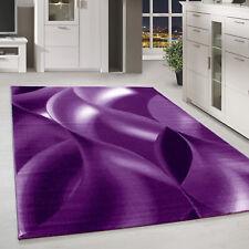Moderner Kurzflor Teppich Karo abstakt schatten Gemustert Lila Meliert