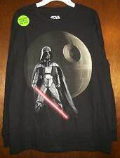 Boys Shirt sz L STAR WARS Black DARTH VADER/Red Saber 100%Cotton Long Sleeve NWT