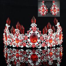 Queen Floral Red Austrian Rhinestone Crystal Tiara Crown Set Bridal Prom T7R