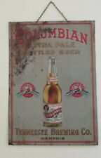 Columbian Beer Embossed Tin Sign Tenessee Brewing Co Memphis 1910
