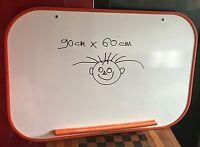 rare ancien tableau bureau blanc d'ecolier vintage pop art contour orange indus