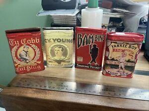 Babe Ruth, Ty Cobb, Cy Young, Bambino, Yankee Boy Lot Of 4 tobacco tins REPLICAS