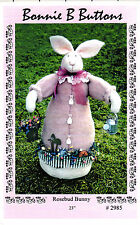 """Bonnie B Buttons Sewing Craft Dollmaking Pattern # 2985 """"Rosebud Bunny"""" 23"""" High"""