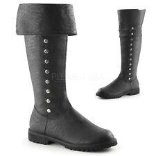 Black Costume Renaissance Medieval Knight Pirate Thigh High Tall Boots Men 12 13