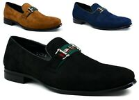 New Mens Suede Designer Buckle Slip On Loafers Wedding Party Driving Shoes UK