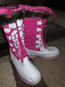 Lands End Girls Pink Gray Snowflake Insulated Winter Ski Snow Boots Youth 6M