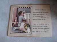Vintage 1950s Gene Erbit Child Praying Print with Childlike Faith Motto LOOK