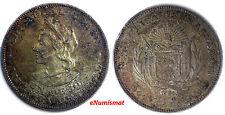 El Salvador Republic Silver 1908 C.A.M. 1 Peso, Colon Nice Toned KM# 115.1