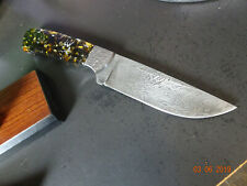 """9"""" OVERALL H & R MICHAEL PRATER DAMASCUS STIR 1 AWESOME DO-ALL KNIFE LEATHER SHE"""