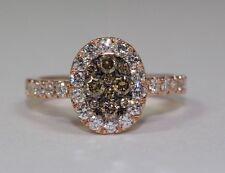 14k Rose Gold Round White Diamond And Round Champagne Diamonds Ring Size 6.5