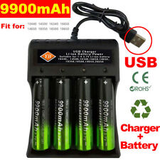 4X 9900mAh 18650 Battery 3.7V Li-ion Rechargeable Batteries with USB Charger hot