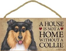 Collie A House Is Not Home Dog wood Sign wall hanging Plaque Tricolor puppy Usa