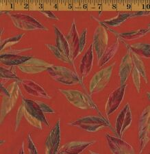 FALL AUTUMN LEAVES Oak with Metallic Accents VIP Cranston 100% Cotton Fabric BTY