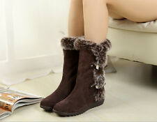 Fashion Womens Winter Warm Scrub Suede Fur Flats Snow Boots Casual Thicken Shoes