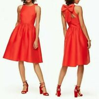Kate Spade Scenic Route Cherry Red Open Back Bow Pockets Fit Flare Dress Sz. 10