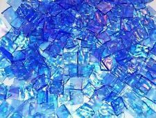 100 Caribbean Blue Iridescent Stained Glass Mosaic Tiles