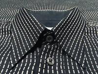 Brioni Black w Gray Broken Stripes Cotton Button Down Single Pocket Shirt Sz M