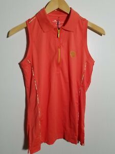 1 NWT PETER MILLAR WOMEN'S S/L POLO, SIZE: SMALL, COLOR: STAR (CORAL)(J251)