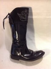 Girls Star to-rite Black Leather Boots Size 12.5F