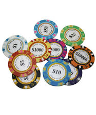 14G MONTE CARLO POKER CLUB CLAY POKER CHIPS SAMPLE SET