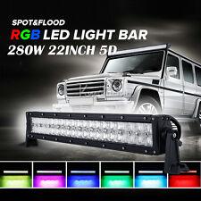 """22"""" 280W 5D CREE RGB APP Spot&Flood LED WORK LIGHT BAR Offroad Ford Jeep Lamp"""