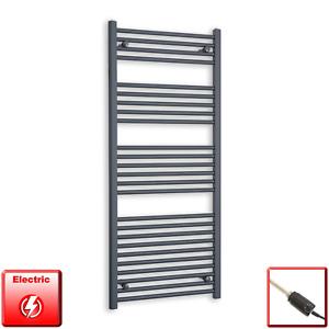 600mm Wide 1400mm High Flat Anthracite Pre-Filled Electric Towel Rail Radiator