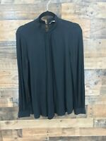 Ann Taylor Loft Women's Black Mock Neck Long Sleeve Blouse Size Medium