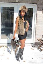 New Designer silver tip Raccoon Fur Vest Sleeveless coat Jacket + free Hat S 0-4