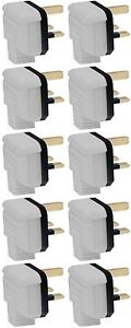 Heavy Duty Rubber Permaplug 13 Amp Hard Plug Tops 13A 3 Pin White - Pack of 10