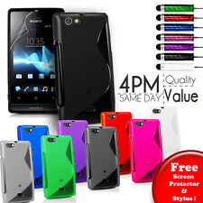 Grip S-Line Gel Case Cover Fits Sony ST23i Xperia miro Free Screen Protector