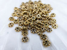 200 x Tibetan Style Daisy Spacer Beads 4mm Antique Gold LF NF (MBX0090)