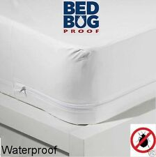 Queen Size Mattress Cover Fabric Waterproof Zipper Protects Against Bed Bugs