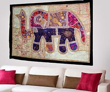 HANDMADE ELEPHANT BOHEMIAN PATCHWORK WALL HANGING EMBROIDERED TAPESTRY INDIA X55