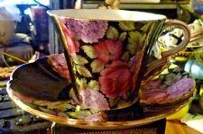 ROYAL STANDARD TEA CUP & SAUCER BLACK W/ ROSES & HYDRANGEAS GOLD TRIM HAND PAINT
