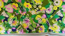 3 1/2 yards Vintage Retro Abstract Flower Power Print Fabric Material 44 x 128