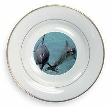 Jumping Dolphins Gold Rim Plate in Gift Box Christmas Present, AF-D6PL