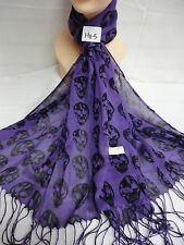 SKULL PATTERN LIGHT WEIGHT WRAP SCARF STOLE SHAWL ALL SEASON WEAR COLOR PURPLE