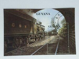 Guyana 1990 Steam locos souvenir stamp sheet CTO