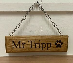Personalised Oak Dog Name Plate Plaque Solid Wood Kennel Play Pen Sign Pet Gift