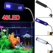 48 Led Aquarium Fish Tank Clamp Clip Lamp Light White&Blue Color Lighting New