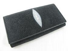 Genuine Stingray Skin Leather Women Bifold Clutch Wallet Black + FREE SHIPPING