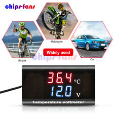 028 Dc 12v Digital Dual Led Display Voltmeter Temperature Voltage Panel Meter