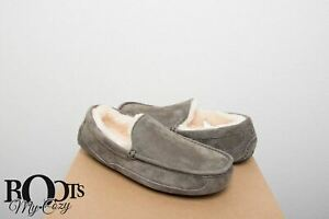 UGG ASCOT CHARCOAL SUEDE SHEEPSKIN MOCCASINS MENS SLIPPERS SIZE US 11/UK 10 NEW