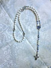 First Holy Communion SWAROVSKI PEARLESCENT ROSARY, Chalice Cntr& X, for BOY NEW
