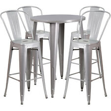 30'' ROUND SILVER METAL INDOOR-OUTDOOR BAR TABLE SET WITH 4 CAFE BARSTOOLS