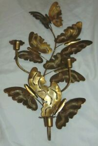 """Large 24"""" BRASS Butterfly Wall Candle Holder Sconce Home Interior??"""